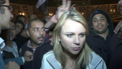 Logan in Tahrir Square shortly before her attack last Friday.